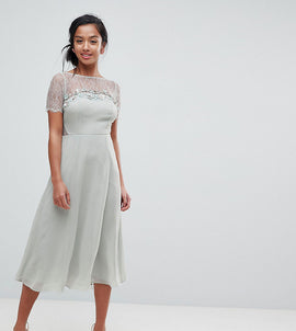 ASOS PETITE Lace Insert Midi Dress With Floral Embellished Trim - Mint