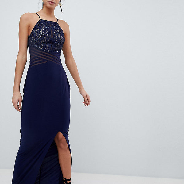 Coast Adeline Maxi Dress with Mesh Bust - Navy