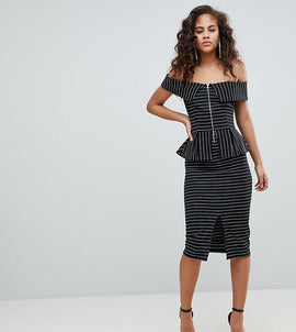 ASOS DESIGN Tall bardot pencil dress with peplum and zip detail in pinstripe - Multi