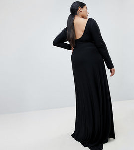 Fashionkilla Plus open back maxi dress in black - Black