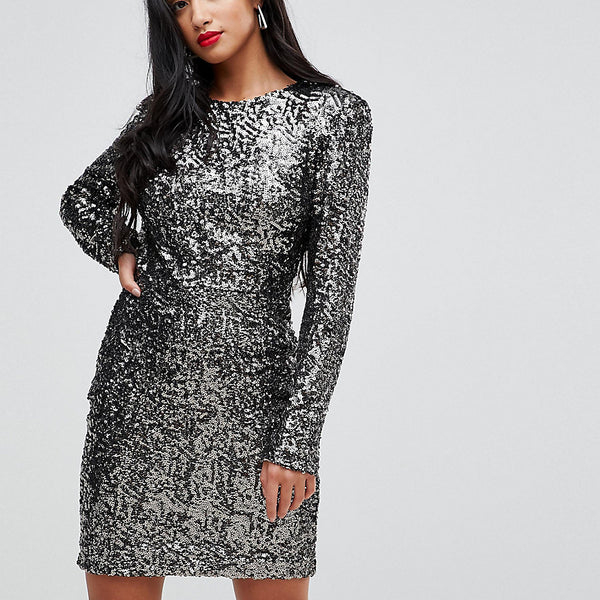 John Zack Petite Allover Sequin Shift Dress - Gunmetal