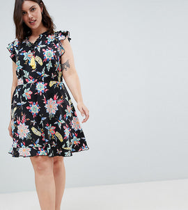 Junarose Floral Printed Dress With Ruffle Sleeve - Multi
