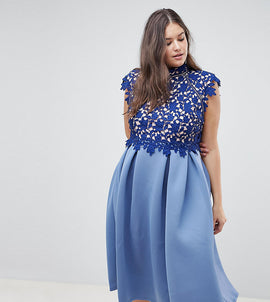 ASOS DESIGN Curve heavy lace high neck prom dress - Navy