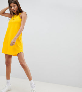 Noisy May lace up swing dress - Yellow