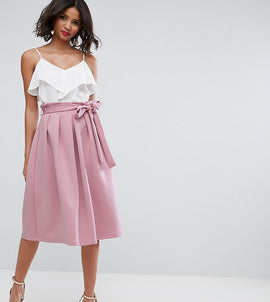 ASOS TALL Scuba Prom Skirt with Paperbag Waist - Pink