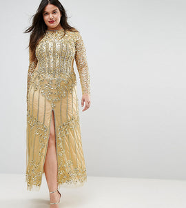 A Star Is Born Plus Embellished Baroque Maxi Dress With Front Split - Gold