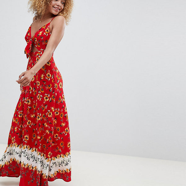 Sisters Of The Tribe Petite Cami Maxi Dress With Contrast Floral Print - Red multi