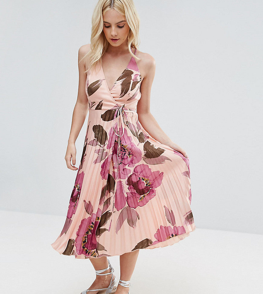 ASOS PETITE Floral Pleated Wrap Cami Midi Dress - Pink