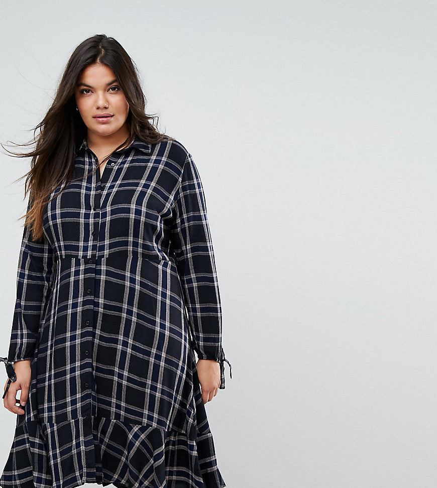 Simply Be Frill Hem Check Shirt Dress - Multi