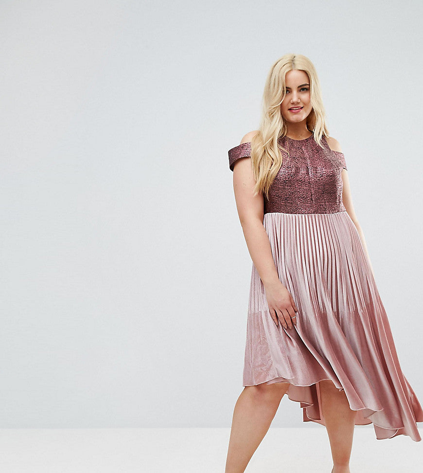 Coast Plus Delores Velvet Pleated Dress - Pink