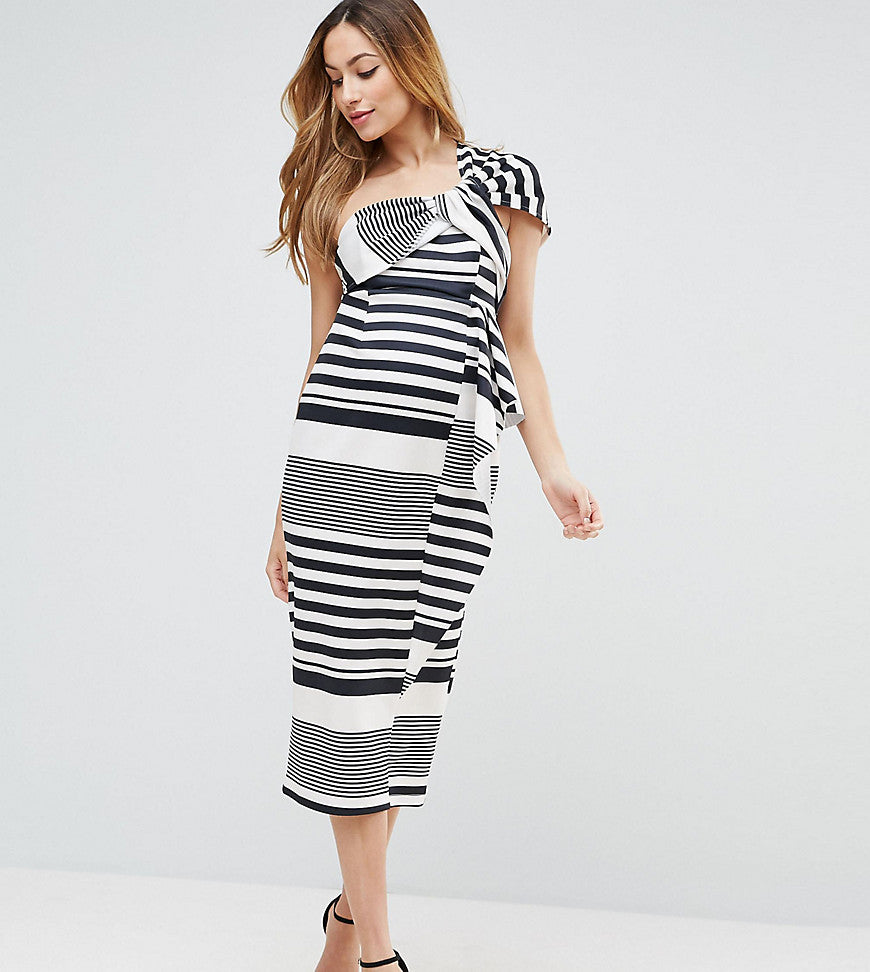 ASOS Maternity One Shoulder Scuba Ruffle Stripe Midi Dress - Black/ white
