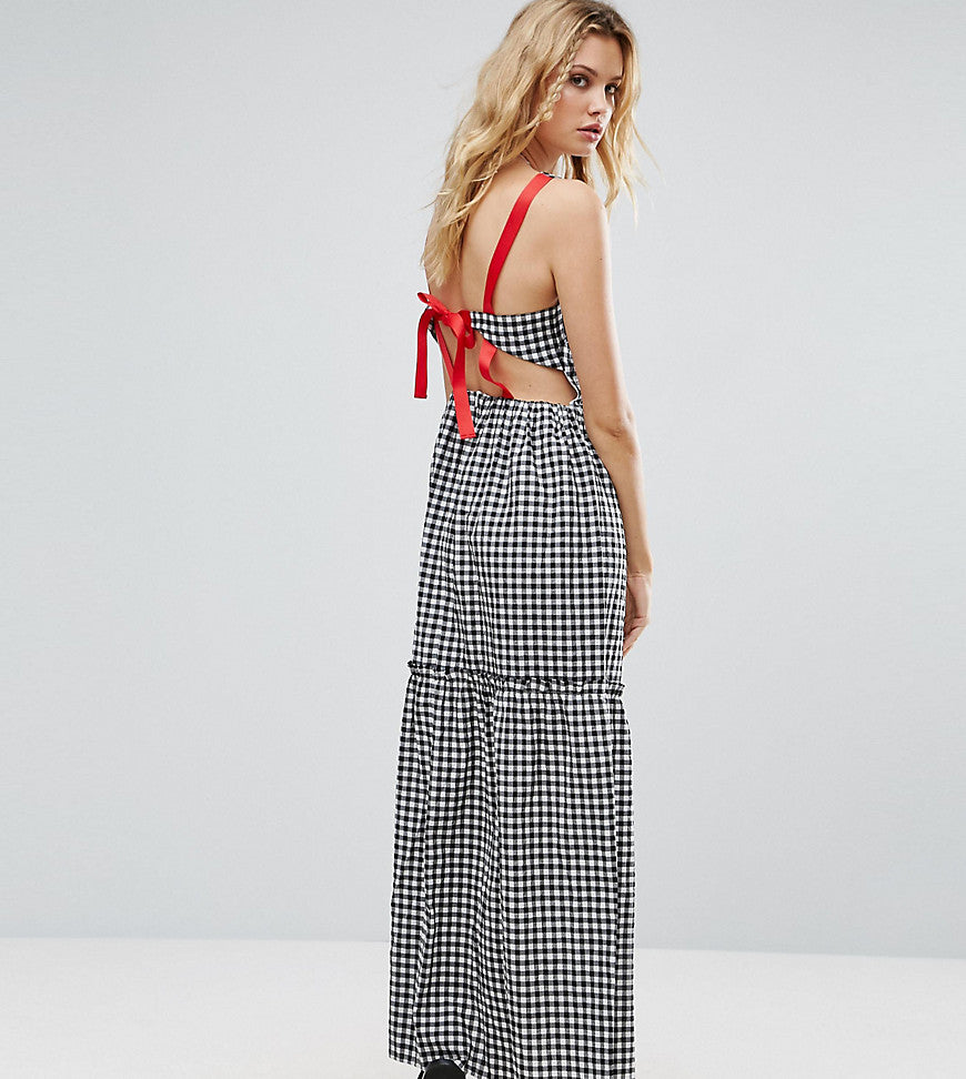 ASOS TALL Tiered Gingham Maxi Dress with Contrast Tie Back - Mono
