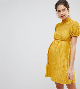 ASOS MATERNITY Mini Lace Dress With Puff Sleeve - Mustard