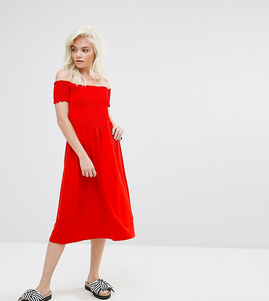 ASOS PETITE Off Shoulder Shirred Midi Sundress - Red