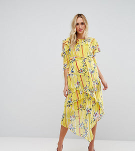 ASOS Maternity Cold Shoulder Dress with Ring Detail in Yellow Floral Print - Yellow base