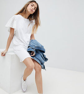 ASOS PETITE T-Shirt Dress With Broderie Sleeves - White