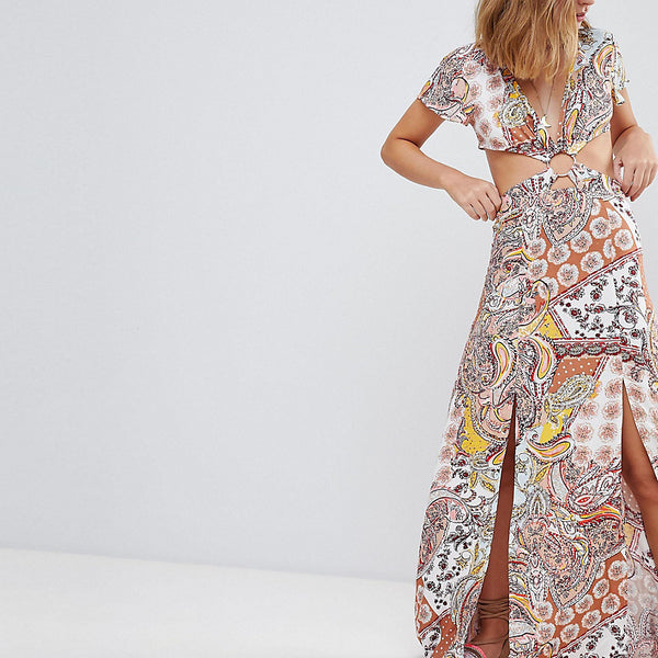 Sisters Of The Tribe Petite Cut Out Maxi Tea Dress With Metal Ring Detail In Paisley - Multi