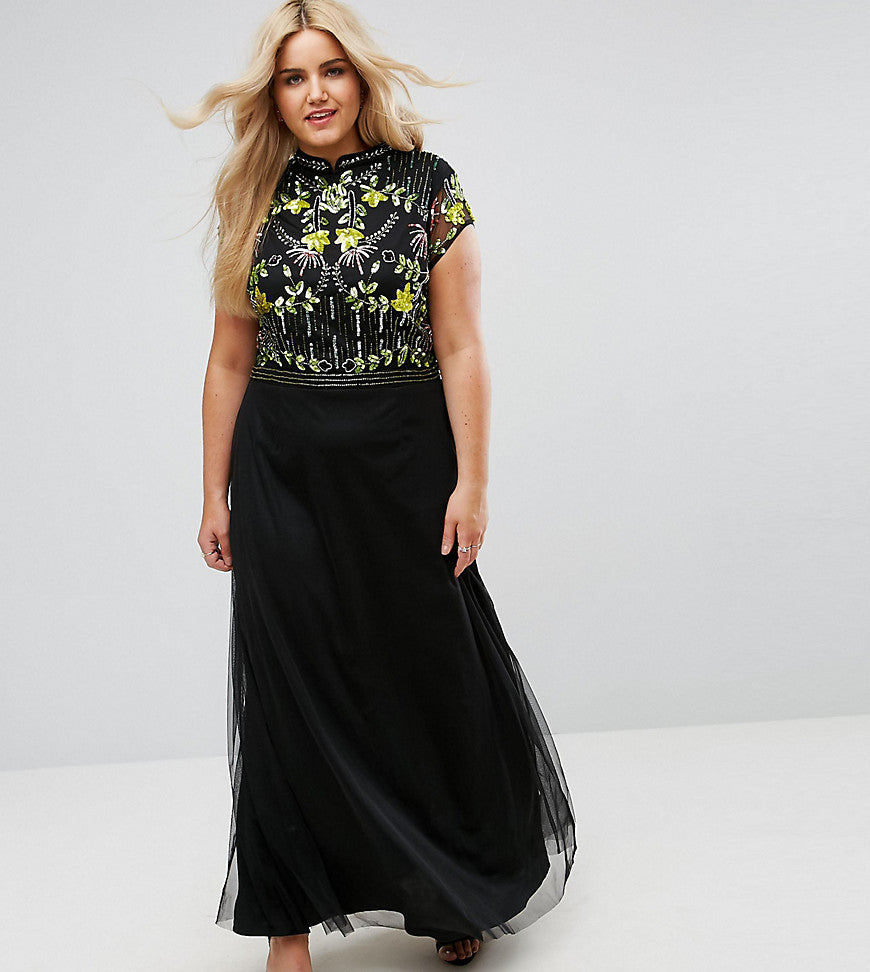 Frock And Frill Plus Embellished Top Maxi Dress With Mandarin Collar Detail - Black