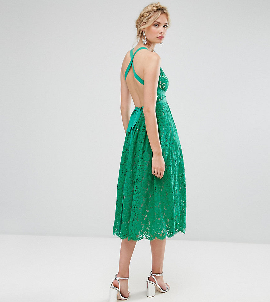 ASOS TALL SALON Lace Pinny Backless Full Midi Prom Dress - Multi