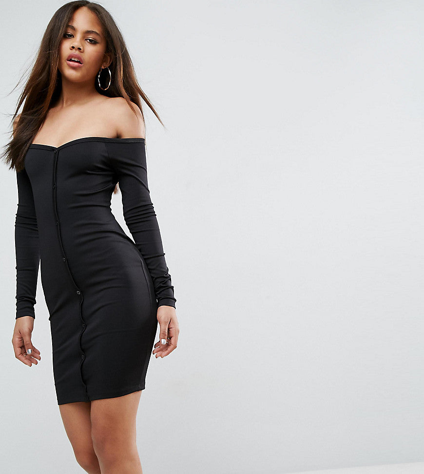 ASOS TALL Mini Sweetheart Neck Button Through Bodycon Dress - Black