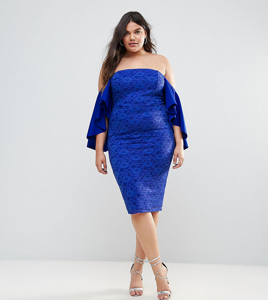 ASOS CURVE Lace Bardot Midi Dress With Extreme Sleeves - Royal blue