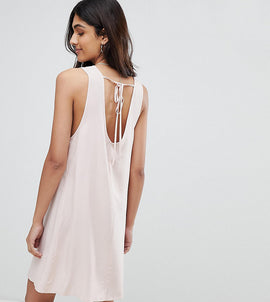 Glamorous Tall Sleeveless Shift Dress With Tie Back - Pink