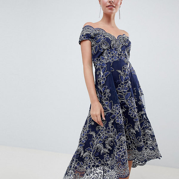 City Goddess Petite Lace Bardot Midi Dress - Navy