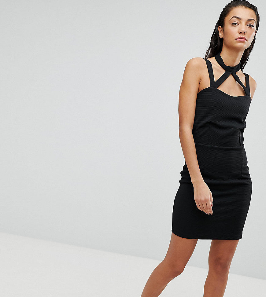 Noisy May Tall Strappy Ribbed Bodycon Dress - Black
