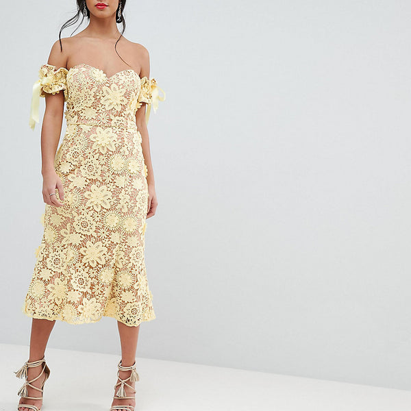 Jarlo Petite All Over Cutwork Lace Bardot Midi Dress With Tie Sleeve Detail - Lemon