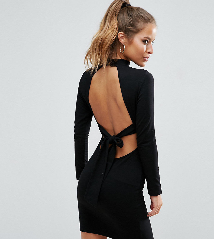 ASOS PETITE High Neck Bodycon Mini Dress with Bow Back - Black