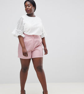 Fashion Union Plus Smart Shorts In Fine Stripe Co-Ord - Pink stripe