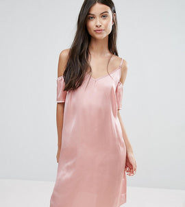 Vero Moda Petite Off The Shoulder Slip Dress - Pink