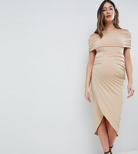ASOS DESIGN Maternity kimmi slinky ruched bardot midi dress - Nude