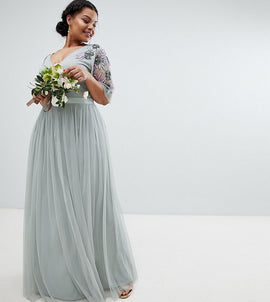 Maya Plus Embellished Tulle Sleeve Maxi Tulle Dress - Green lily