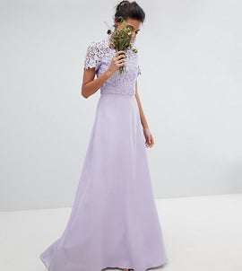Chi Chi London Tall 2 in 1 High Neck Maxi Dress with Crochet Lace - Lavender grey