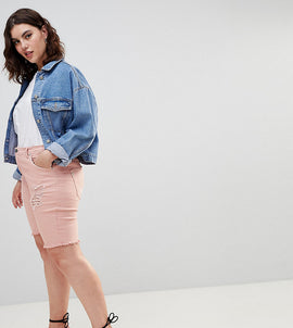 Zizzi Denim Short with Raw Edge and Rips - Mellow rose
