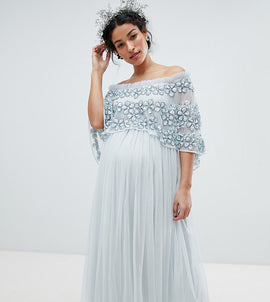 Maya Maternity Embellished Bardot Layered Midaxi Dress - Ice blue