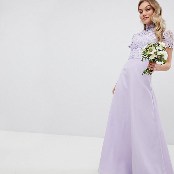 Chi Chi London Petite 2 in 1 High Neck Maxi Dress with Crochet Lace - Lavender grey