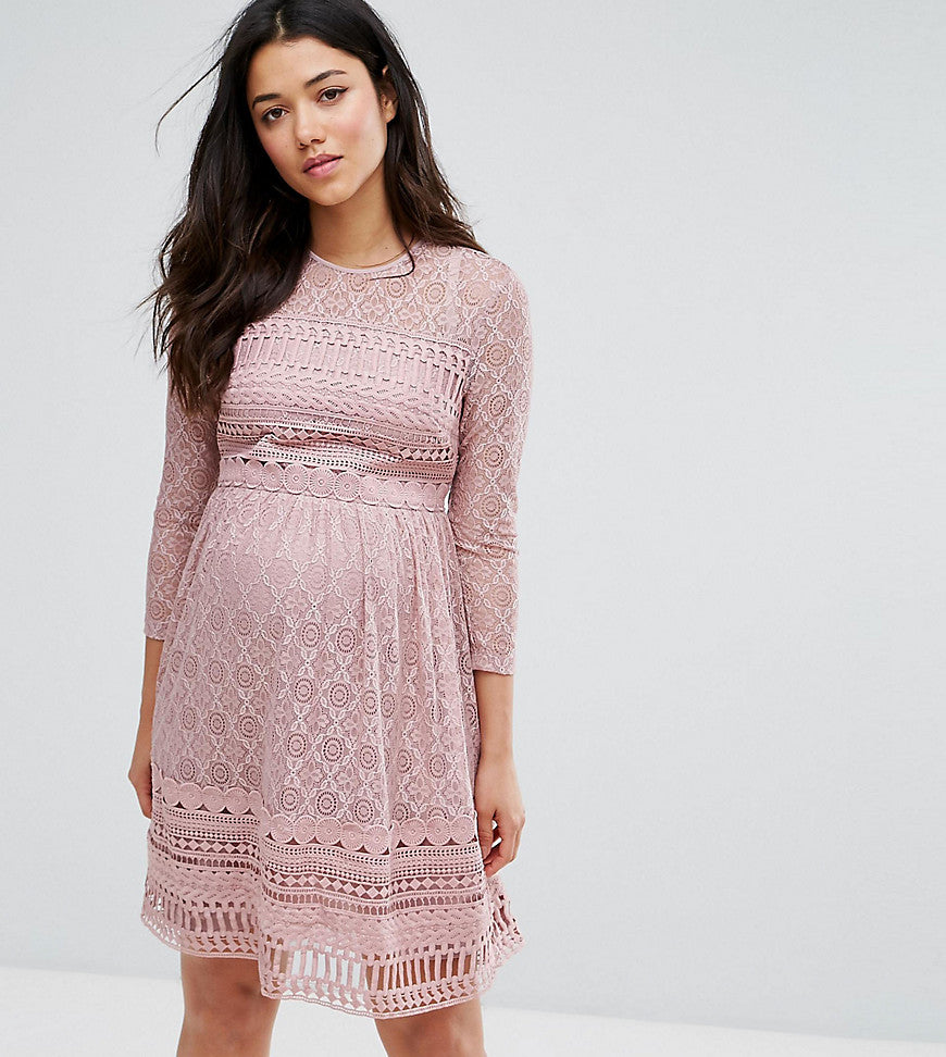 ASOS Maternity PREMIUM Lace Skater Dress - Lilac