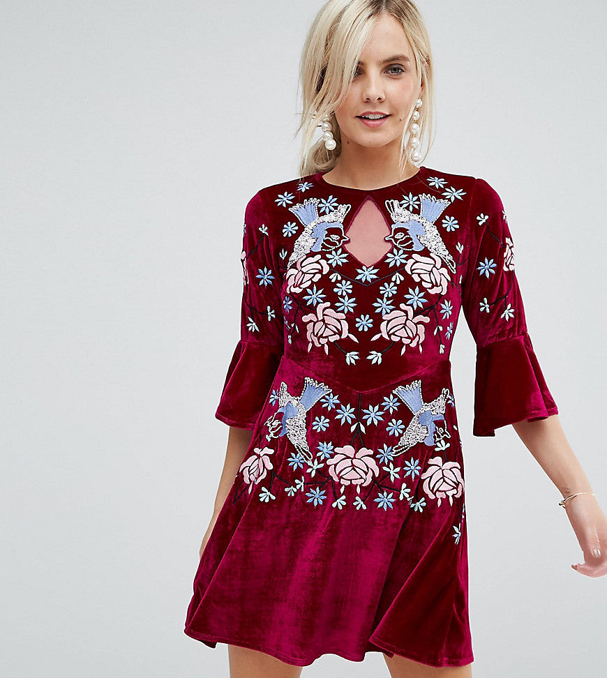 Frock And Frill Petite Allover Premium Embellished Velvet Skater Dress With Peplum Hem - Berry