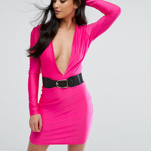 Naanaa Petite Plunge Front Mini Bodycon Dress With Belt - Pink