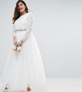 ASOS EDITION CURVE BRIDAL Lace Long Sleeve Crop Top Maxi Dress - White