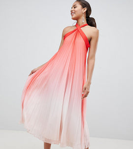 John Zack Tall High Neck Pleated Maxi Dress - Pink ombre