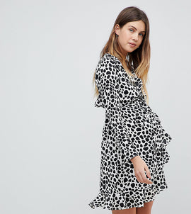 ASOS Maternity Mono Spot Print Ruffle Wrap Mini Dress - Multi