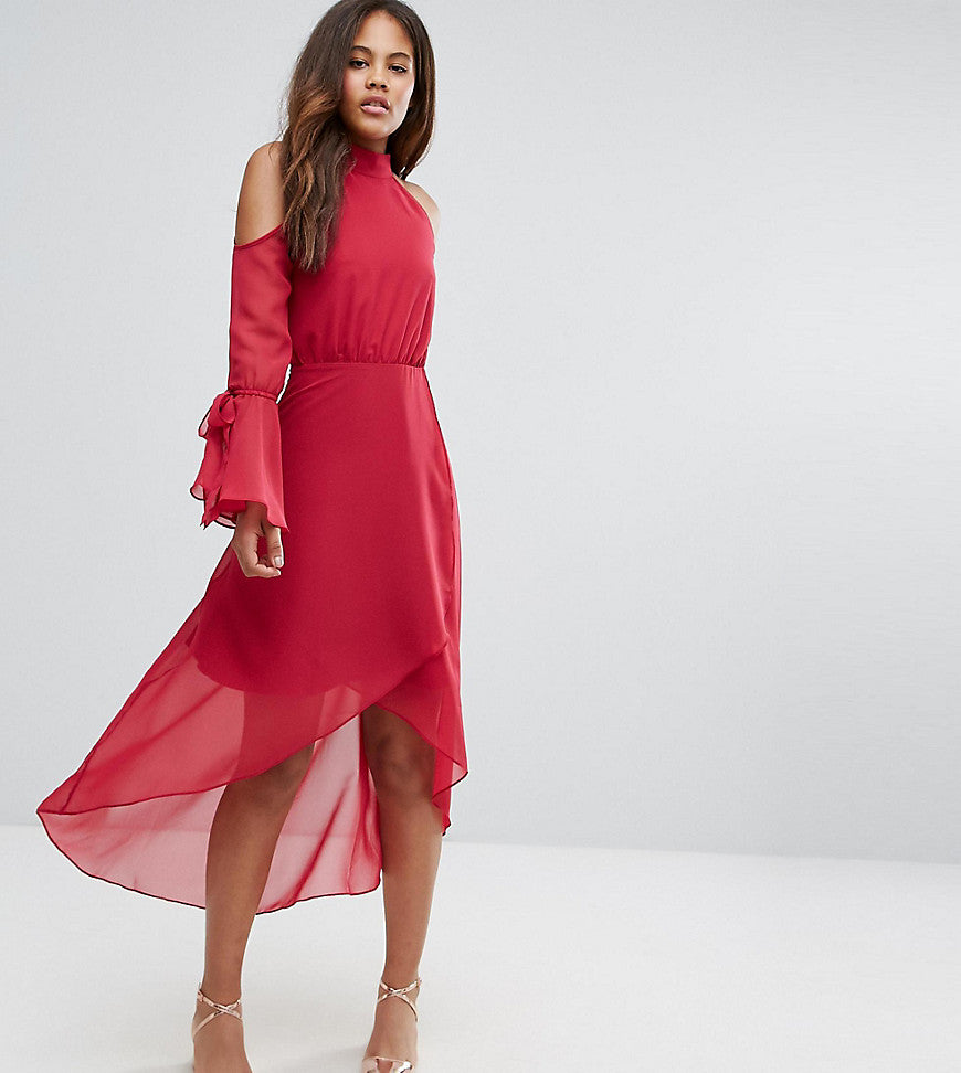 True Decadence Tall Premium Cold Shoulder Wrap Front Midi Dress With Fluted Sleeve Detail - Raspberry