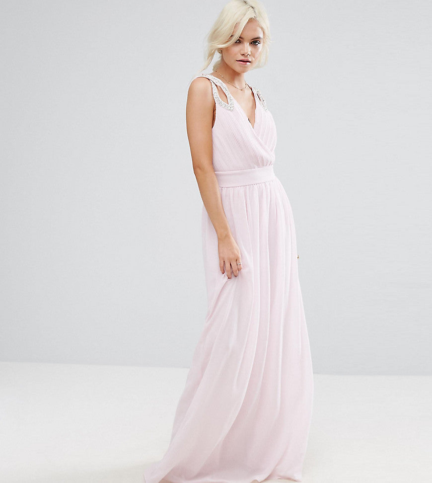 TFNC Petite Wedding Wrap Front Maxi Dress With Embellishment - Ballet pink