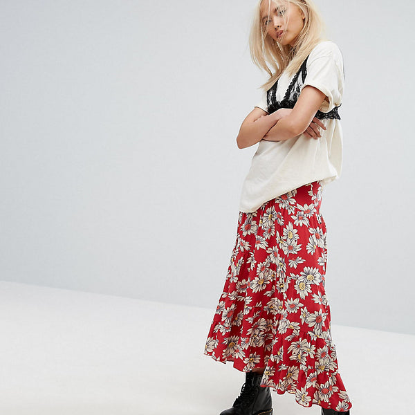 Milk It Vintage Tiered Maxi Skirt In Floral Print - Red