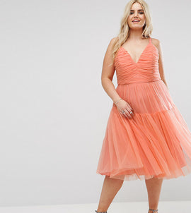 ASOS CURVE Tulle Midi Prom Dress - Orange