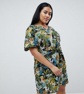 Junarose tropical print tie front dress - Black