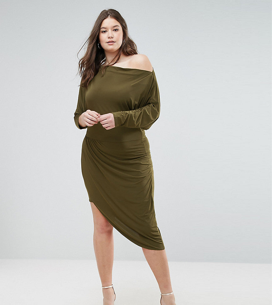 Club L plus Asymetric Slinky Wrap Dress - Khaki